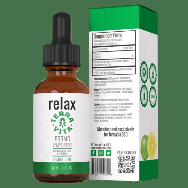 terravita full spectrum cbd tincture relax lemon lime